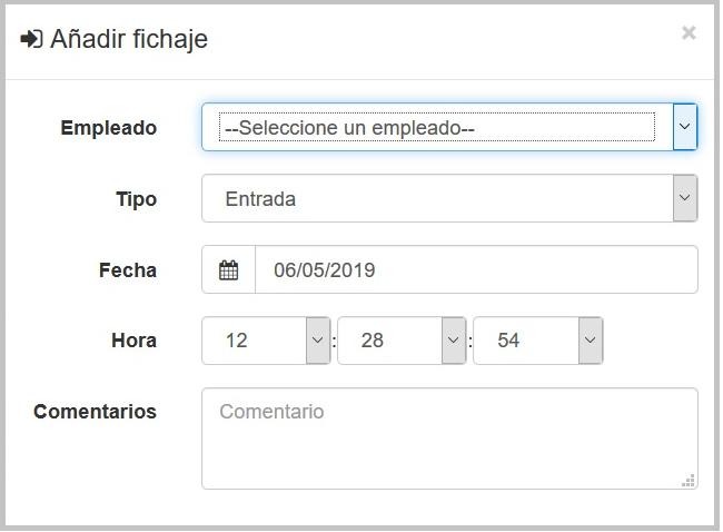 Sistema de control horario desde centralita virtual - administración
