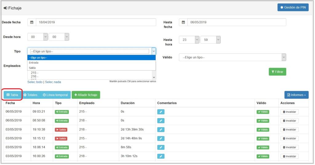Control horario desde centralita virtual - administración